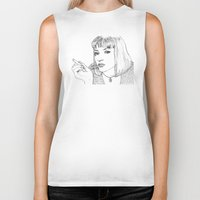 mia wallace Biker Tanks featuring Mia (Mia Wallace Pulp Ficion) by Becky Ryan