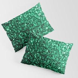 Beautiful Emerald Green glitter sparkles Pillow Sham