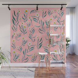 Pink white leaves Wall Mural