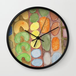 Striped Colorful Pattern with Croissants Wall Clock