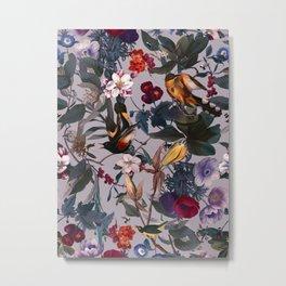 Floral and Birds XL Metal Print