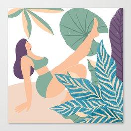 Girl At Beach Having Summer Fun Canvas Print