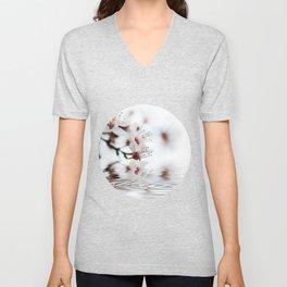 white cherry blossom and water reflection Unisex V-Neck
