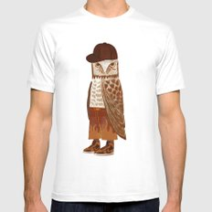 Hip Hop Owl White MEDIUM Mens Fitted Tee