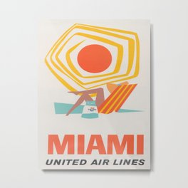 Miami Retro Vintage Travel Poster Metal Print
