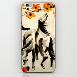 horses under floral tree iPhone Skin