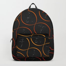 Pattern with sport shapes and orange circles Backpack