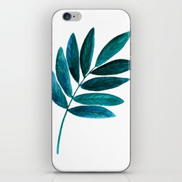 Watercolor hand-drawn spring green leaf isolated iPhone Skin