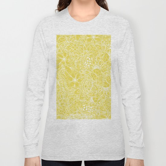 Modern trendy white floral lace hand drawn pattern on meadowlark yellow by girlytrend