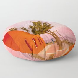 Super Moon At Sunset Floor Pillow