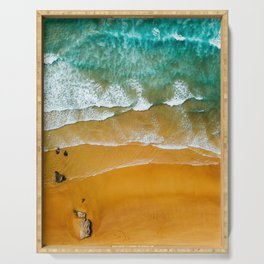 Ocean Waves Crushing On Beach, Drone Photography, Aerial Photo, Ocean Wall Art Print Decor Serving Tray