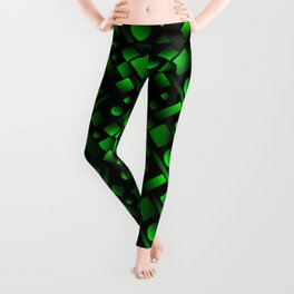 Geometric volumetric design with circles and green rectangles from stripes. Leggings