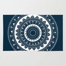 Ukatasana white mandala on blue Rug