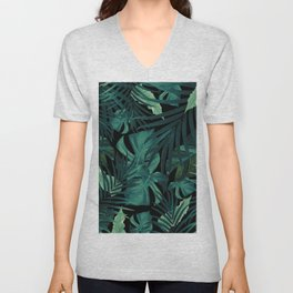 Tropical Jungle Night Leaves Pattern #1 #tropical #decor #art #society6 Unisex V-Neck
