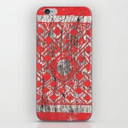 Celtic Orange and Black Lace Woodcut Print iPhone Skin