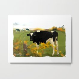 Cow Folk Metal Print