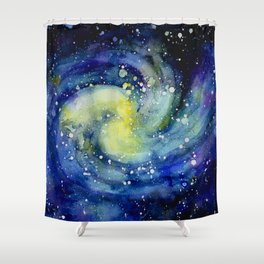 Galaxy watercolor Shower Curtain