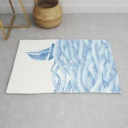 Blue sailboat, watercolor nautical ocean waves sea Rug
