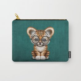 Cute Baby Tiger Cub Wearing Eye Glasses on Teal Blue Carry-All Pouch