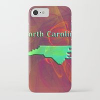 north carolina iPhone & iPod Cases featuring North Carolina Map by Roger Wedegis