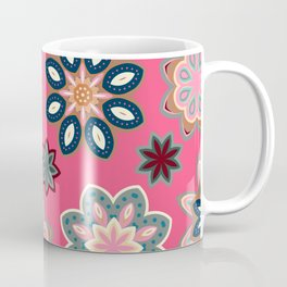Flower retro pattern in vector. Blue gray flowers on pink background. Coffee Mug