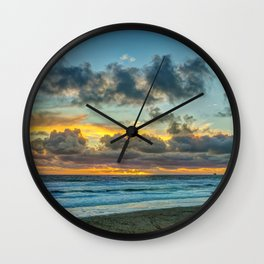 Clouds Over Tower 2 at Sunset Wall Clock