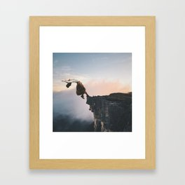 Up in the Clouds-Surreal Levitation Off a Cliff Framed Art Print