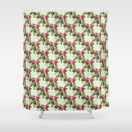 Garlands of roses on a green background Shower Curtain