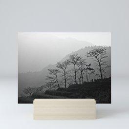 Misty mountains landscape in Vietnam | Trees in black and white fine art print Mini Art Print