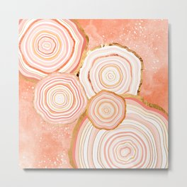 Coral Agate Abstract Metal Print