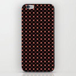 Pantone Living Coral Thin Line Stripe Grid (Pinstripe) and Polka Dots on Black iPhone Skin