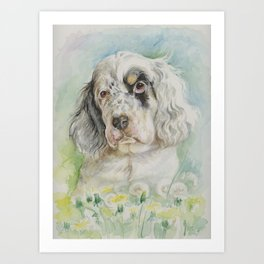 English Setter puppy watercolor painting Cute dog portrait Art Print