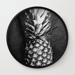 Pineapple - Black and White Photography Wall Clock