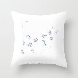Cute Floral Cat Design Throw Pillow