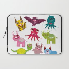 Sticker set Funny monsters collection on white background Laptop Sleeve