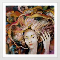 hat Art Prints featuring hat by Eva Lesko