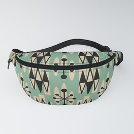 Retro Mid Century Modern Atomic Triangles 733 Green and Black Fanny Pack