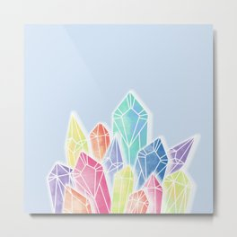 Crystals Blue Metal Print