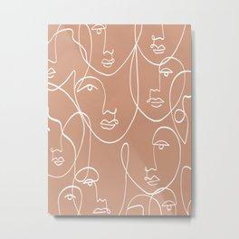 Multi Faces Line Art  Metal Print