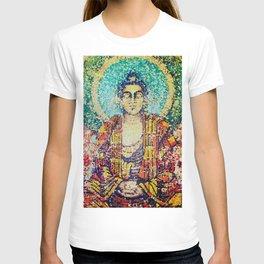 Zen Meditation Buddhist Monk Stained Glass Effect T-shirt