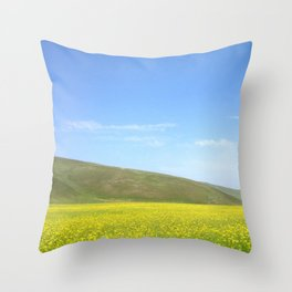 yellow flower field Throw Pillow