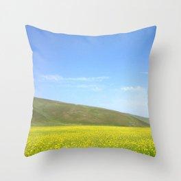 yellow flower field Throw Pillow