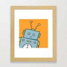 Friendly Blue Robot Framed Art Print