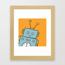 Friendly Blue Robot Framed Art Print