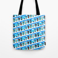 dmmd Tote Bags featuring DMMD chibi by mao00mao & darkson