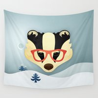 badger Wall Tapestries featuring Winter Badger by Jenny Lloyd Illustration