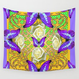 LILAC PURPLE BUTTERFLIES ABSTRACT GARDEN Wall Tapestry
