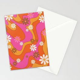 Groovy 60's and 70's Flower Power Pattern Stationery Cards