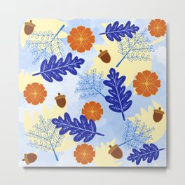 Falling Leaves in Winter Blue Metal Print
