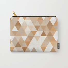 Pale Orange Taupe Brown Pastel Colors Triangles Polygon Pattern Carry-All Pouch